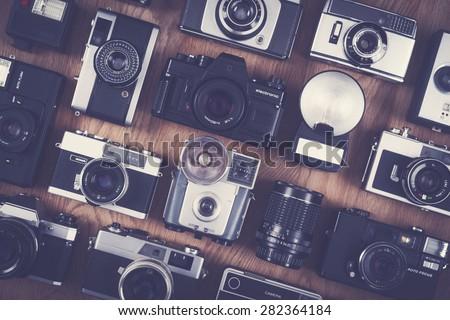 vintage and retro camera set - stock photo