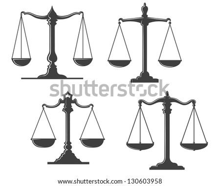 Vintage and retro justice scales isolated on white background. Vector version also available in gallery - stock photo