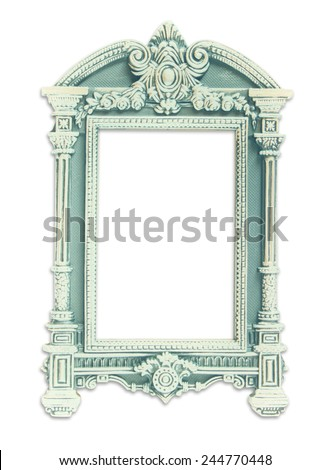 vintage antique classical frame. isolated on white