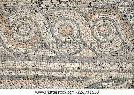 vintage antique mosaic, the city of Kos, Greece,