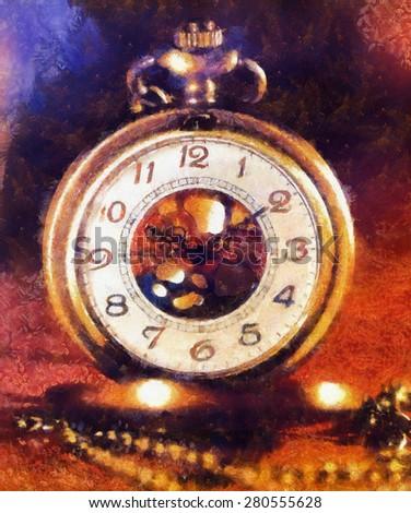 Vintage Antique pocket watch. Illustration collage. vintage background - stock photo