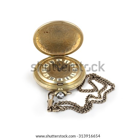 Vintage antique pocket watch with open lid and chain. White background.