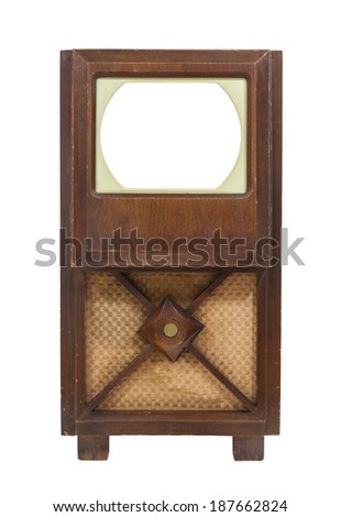 Vintage antique television with empty screen and clipping path. - stock photo