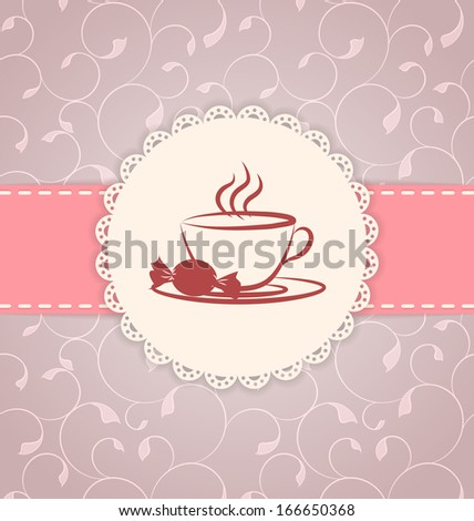 Vintage applique card / background. Label with cup and candy on floral background. - stock photo