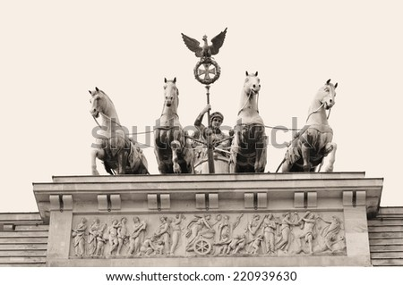 Vintage architectural detail of the Brandenburger Tor in Berlin, Germany - stock photo