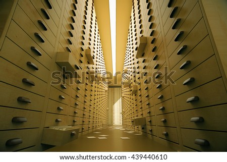 Vintage archive interior with open drawers. 3D Rendering - stock photo