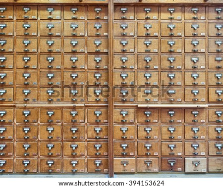 vintage archive wooden drawers pattern - stock photo