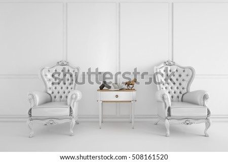 vintage arm chair interior with lamp and console table 3D illustration