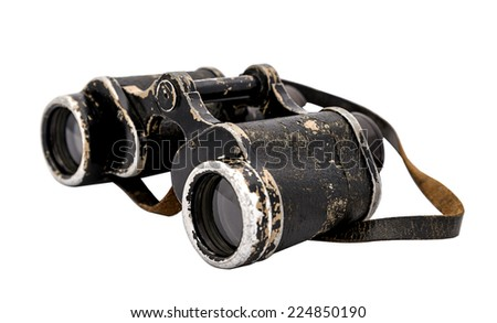 vintage army binoculars  isolated on a white background - stock photo