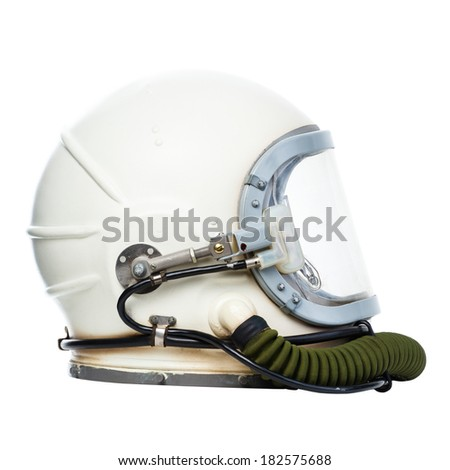 Vintage astronaut helmet isolated on a white background.  - stock photo