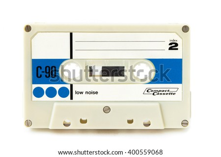 Vintage audio cassette on white background - stock photo