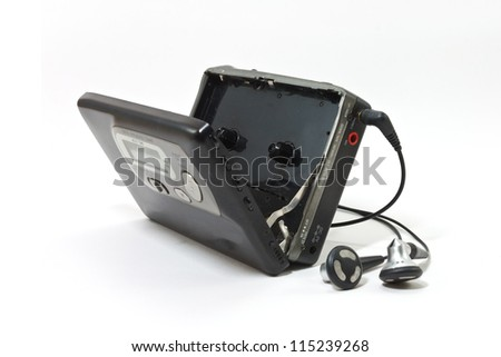 Vintage audiotape walkman - stock photo