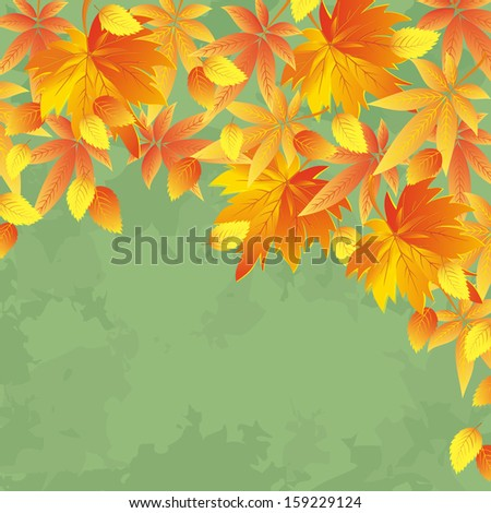 Vintage autumn background with yellow and red leaves. Nature background, leaf fall. Place for text. Raster version