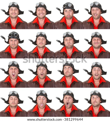 vintage aviator pilot adult caucasian man collection set of face expression like happy, sad, angry, surprise, yawn isolated on white - stock photo