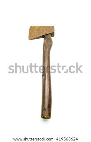vintage ax isolated on white background  - stock photo