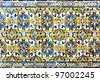 Vintage azulejos (ancient tiles) from the Dormition of the Mostholy Mother of God in Evora - Alentejo, Portugal - stock photo