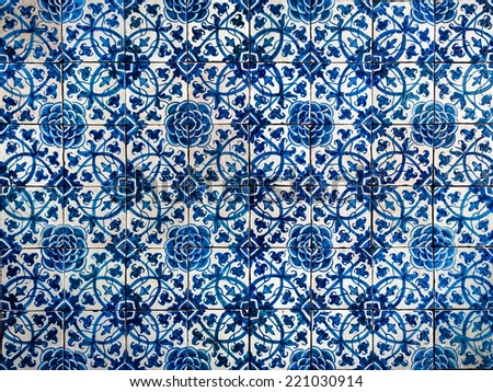 Vintage azulejos, traditional Portuguese tiles - stock photo