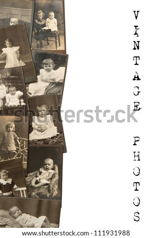vintage baby pictures in sepia circa 1880-1900. vintage background - stock photo