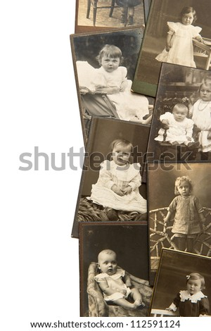 vintage baby portraits in sepia circa 1900 - stock photo