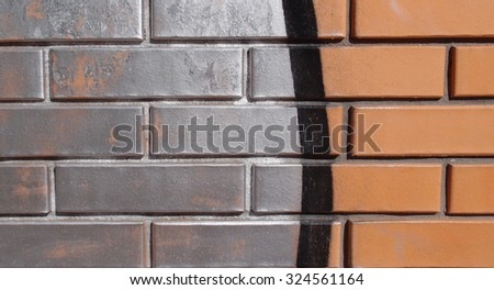 Vintage background bricks wall texture with abstract hand drawing paint pattern