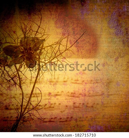 vintage background canvas textured, flower and score - stock photo