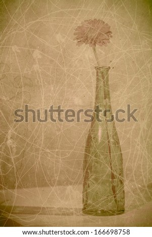 Vintage background (grungy paper with flower) - stock photo
