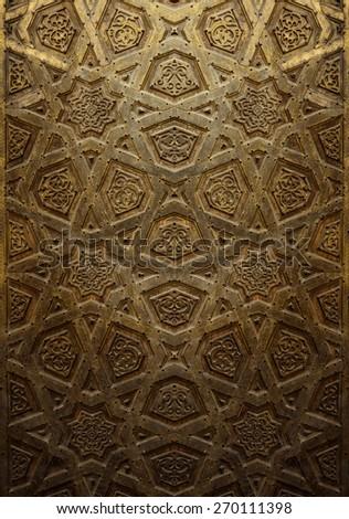 Vintage Background of Decorative Islamic Wood Art Door - stock photo