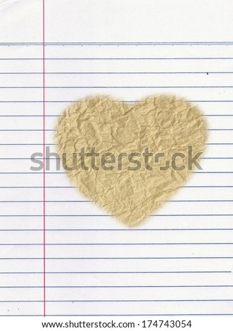 Vintage background on crumpled paper with heart shapes - stock photo