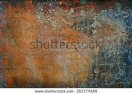 Vintage background scratched wall digital processed. - stock photo