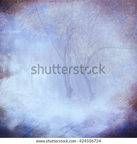 Vintage background vignette with a silhouette of trees on a cloth, blue. An abstract background with the translucent image of trees and the darkened edges. Basis for imposing of the text. - stock photo