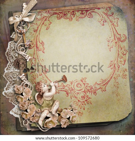 Vintage background with angel - stock photo