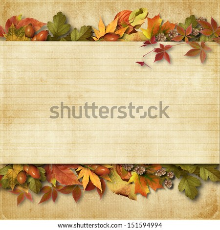 vintage background with autumn leaves with place for text and ph - stock photo