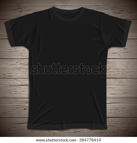 Vintage background with blank t-shirt. - stock photo