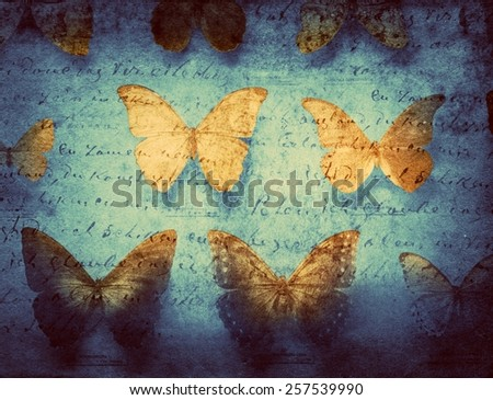 vintage background with butterfly - stock photo