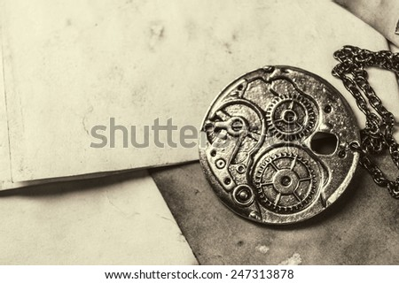 Vintage background with clockwork - stock photo