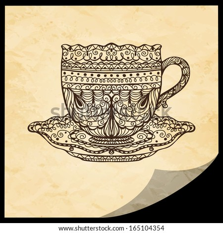 Vintage background with cup and frame. Tea / coffee cup. Food and drinks - raster version - stock photo