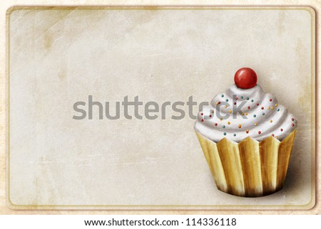 vintage background with cupcake - stock photo
