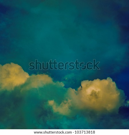 Vintage background with fantasy clouds - stock photo
