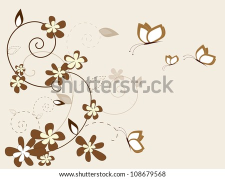 Vintage background with flowers and butterfly