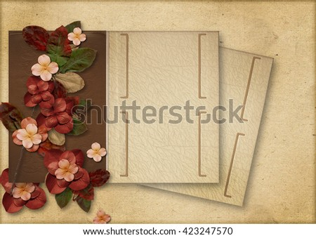 Vintage background with flowers and old album - stock photo