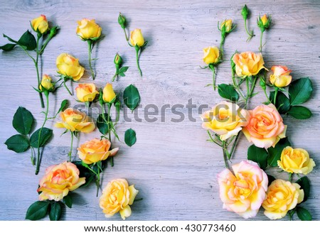 Vintage background with flowers for congratulations and invitations ,colorful lifestyle ,flat lay - stock photo