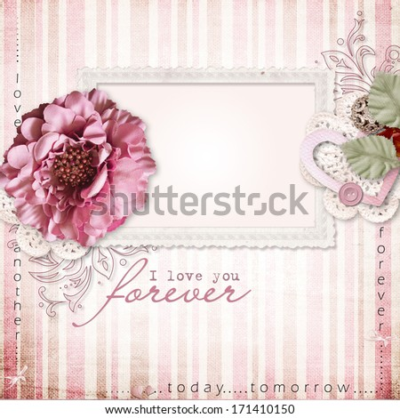 Vintage background with frame and flowers - stock photo