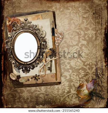 Vintage background with frame, old letters and faded roses - stock photo
