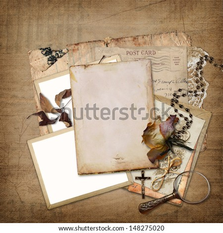 Vintage background with frame, rose and letters   - stock photo