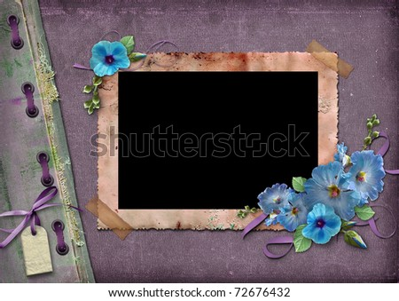 Vintage background with frames for photos and blue flowers - stock photo