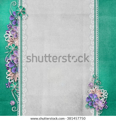 Vintage background with handmade flowers and lace - stock photo