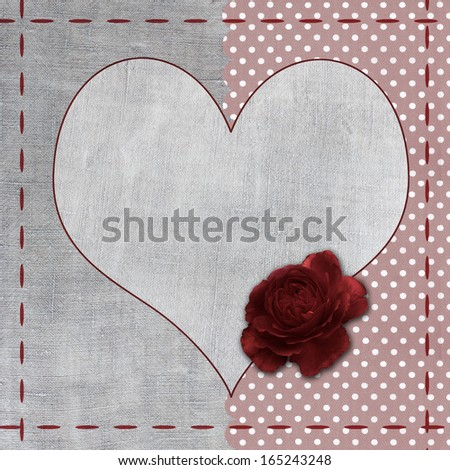 Vintage background with heart and flowers for congratulations and invitations  - stock photo