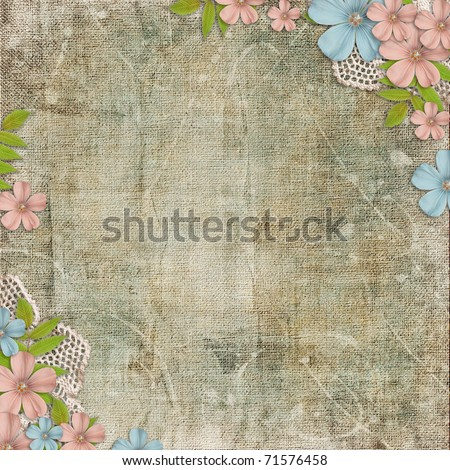 Vintage background with lace and flower composition - stock photo