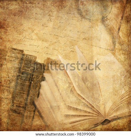 vintage background with old books - stock photo