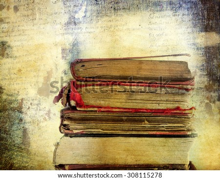 Vintage background with old books. Back to school concept                                - stock photo